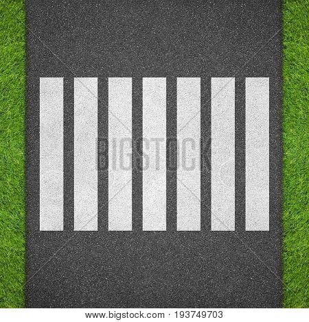 White zebra crossing on the asphalt road