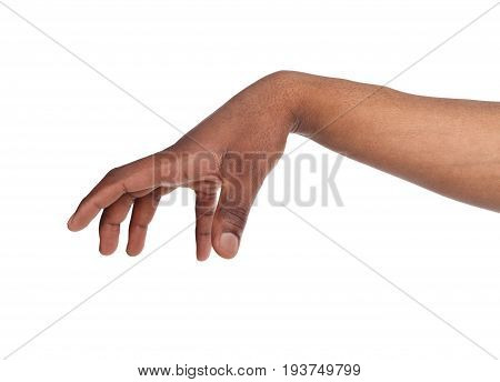 Taking. Black male hand grab some items on white isolated background, cutout, copy space