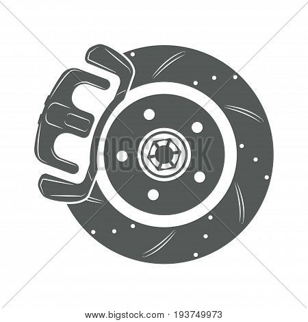 brake disk isolated on white background, monochrome style, vector