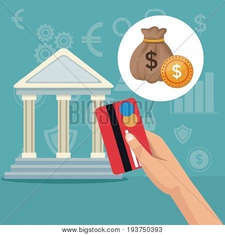 color background parthenon architecture and icons economy analytics investment vector illustration