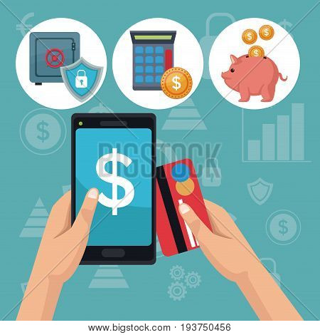 color background analytics investment icons and hand holding a smartphone with debt card vector illustration