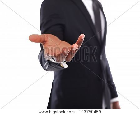 Unrecognizable businessman welcoming you isolated. Cropped image of african american man in suit opening palm in inviting gesture
