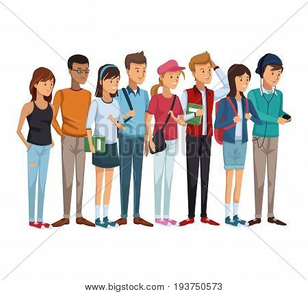 colorful set group of students teenagers standing vector illustration