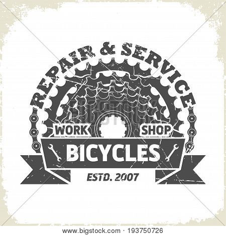 Bicycles sprocket logo design, monochrome style, vector