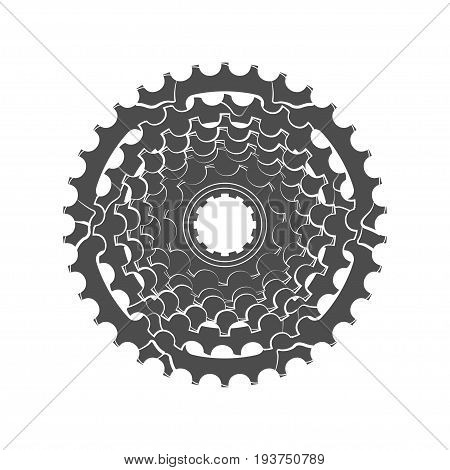 Bicycle monochrome sprocket on the white background, vector