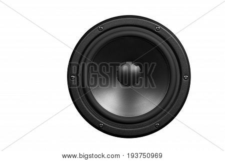 Low-frequency loudspeaker on a white background .