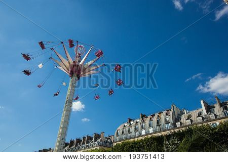 A Summer Funfair  In The Tuileries Gardens, In The Center Of Paris