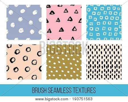Colorful Set Of Seamless Vector Free Hand Doodle Textures, Dry Brush Ink Art.