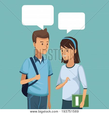 colorful scene half body couple students talking with dialog boxes vector illustration