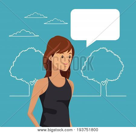 blue scene with silhouette landscape and colorful half body teen student with dialog box vector illustration