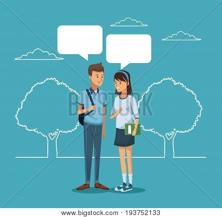 blue scene with silhouette landscape and colorful couple student standing with dialog boxes vector illustration