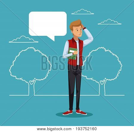 blue scene with silhouette landscape and colorful guy student standing with dialog box vector illustration