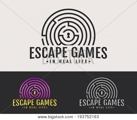 Escape room logo. Vector badge for quest game in real life. White black and colored variants.