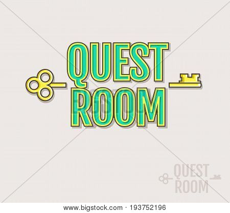 Quest Room logo. Vector badge for escape game design. Colored and silhouette variants isolated on a white background.