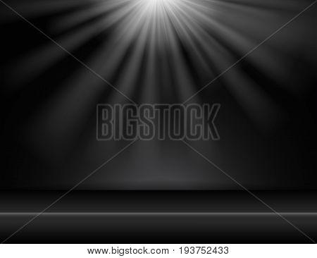 dark black studio room background with lighting above Vector illustration