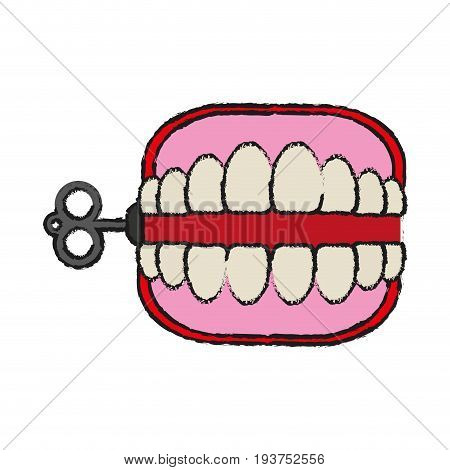 wind up chattering teeth funny toy icon image vector illustration design