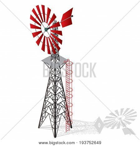 Wind pump for pumping of water on farm. Home wind power plant for power generation. Technical industrial agriculture building with metal construction. Master vector windmill illustration.