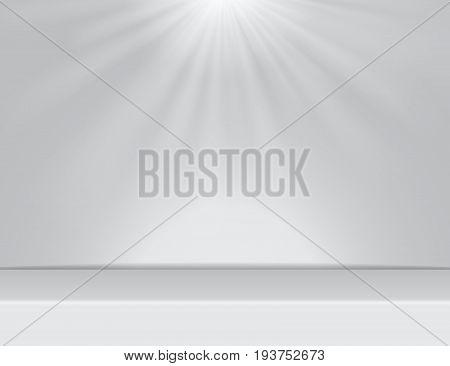 light white studio room background with lighting above Vector illustration