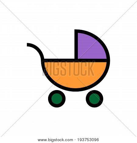 Pram icon. Flat Web line icon on white background . Baby carriage, eps 10