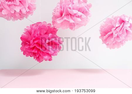 Paper Flowers At The Girl Baby Shower Party.  Baby Shower Celebration Concept