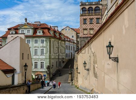 Prague, Czech Republic - June 6, 2017: Staircase leading to the Schwarzenberg Palace in Prague Castle, Prague, Czech Republic