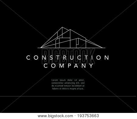 Vector construction company brand design template. Building company and architect bureau insignia, logo illustration isolated on black background. White stroke, linear art.