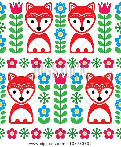 Scandinavian seamless pattern, Nordic background with foxes and flowers, folk art design