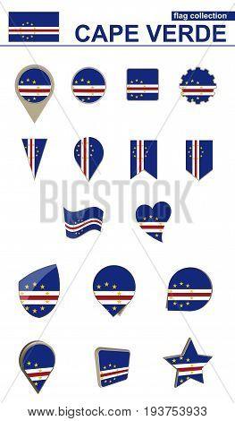 Cape Verde Flag Collection. Big Set For Design.
