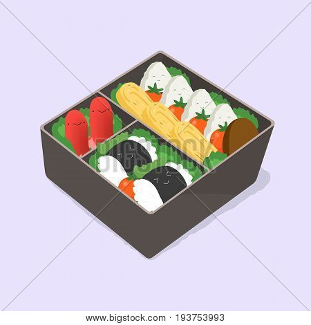 ute bento. Japanese lunch box. Funny cartoon food. Isometric colorful vector illustration