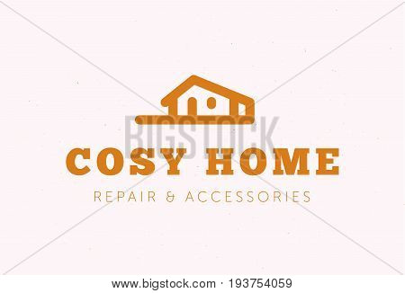 Vector flat home repair and accessories company brand design template. Home market store insignia, logo illustration isolated on white background. Line art.