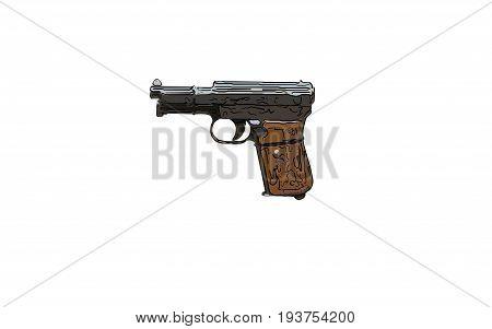 Close Up On Old Vintage Illustration Of Pistol On White Background
