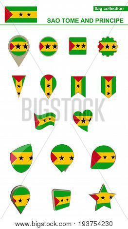 Sao Tome And Principe Flag Collection. Big Set For Design.