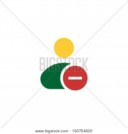 Vector illustration of solid line remove male user action icon. Could be used as menu button, user interface element template, badge, sign, symbol, company logo. Flat design