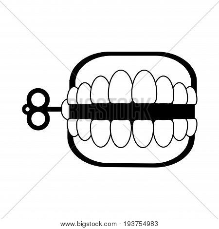 wind up chattering teeth funny toy icon image vector illustration design black and white