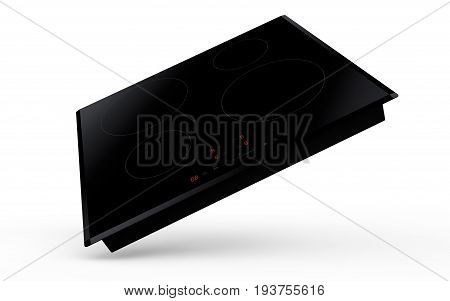 Induction cooktop on white background 3d render