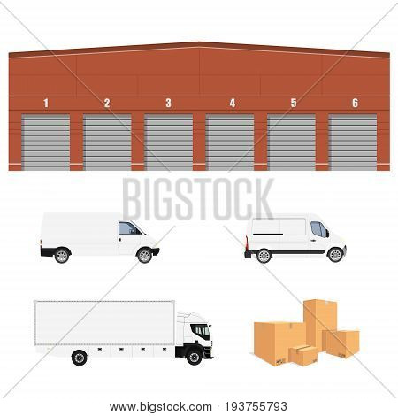 Vector illustration warehouse cargo delivery with six doors. Storage building. Cargo truck two minivan and pile of cardboard boxes.Delivery transport set collection. Delivery service icon.
