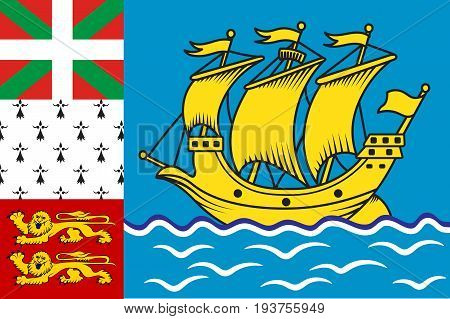 Flag of Saint Pierre and Miquelon officially the Overseas Collectivity of Saint Pierre and Miquelon is a self-governing territorial overseas collectivity of France. Vector illustration