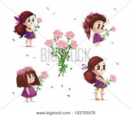 Hand drawn artistic portrait of little cute girl with roses bouquet standing set isolated on white background. Peaceful harmony cute child illustration. Congratulation card wedding invitation.