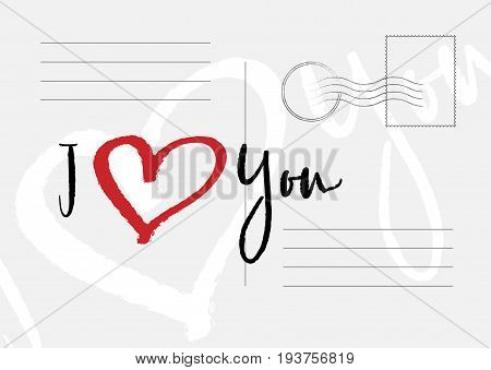 I Love You Greeting Card. Flat Vector Illustration Eps 10