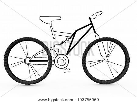Mountain bike a three-dimensional honor and a piece painted in pencil. Bike layout 3d rendering
