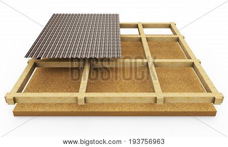 Scheme of the roofing system. 3D illustration