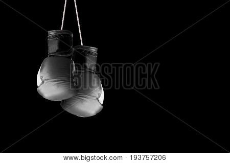 Pair of boxing gloves hanging against a black wall background. Empty copy space for Editor's text.
