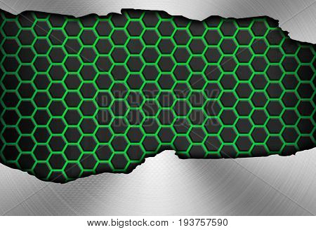 cracked metal plate with honeycomb background