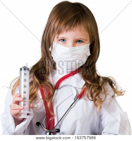 Girl suit doctor syringe elementary age preadolescent child white