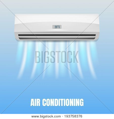 Conditioner with air streams. Realistic air conditioner with flows of cold air. Isolated conditioner