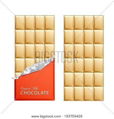 Milk candy chocolate bars in vintage bar wrappers with foil. Vector illustration