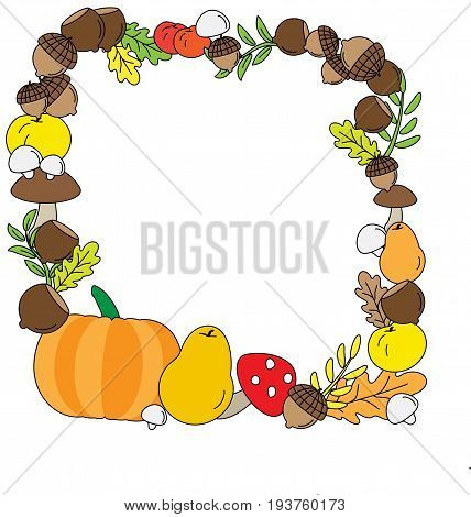 Vector Background with Fall leaves. fruits and Mushrooms.