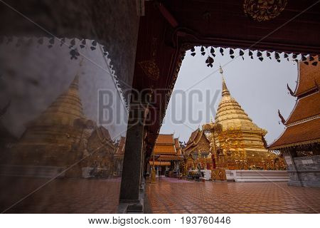 Wat prathat doi suthep temple in chiangmai thailand the most famous temple at twilight.