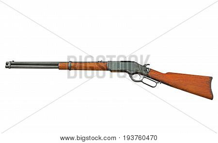 Closeup Antique Rifle Isolated on White Background Clipping Path