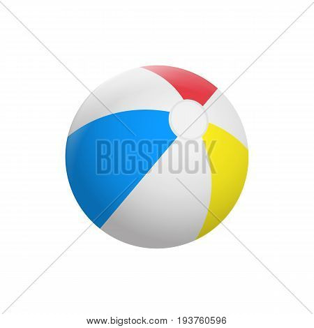 Realistic Beach ball isolated on white background. Vector illustration. Eps 10.